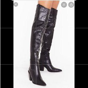NWT Nasty Gal OTK black crocodile heeled boots